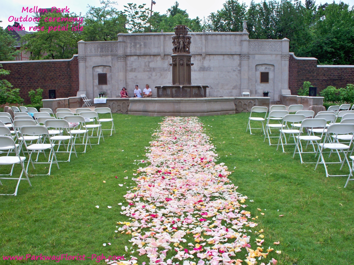 Outdoor Ceremony, With Rose Petal Isle