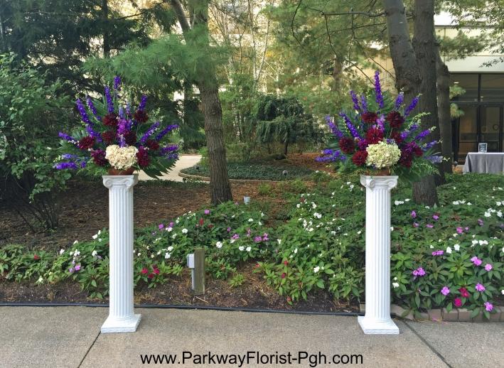 pam-garden-column-arrangements-maroon-and-purple
