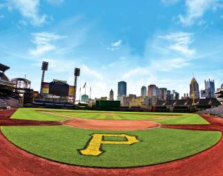 An image of Home Plate with the city of Pittsburgh in the background.