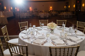 Smaller centerpieces were used as well to create a high/low look.