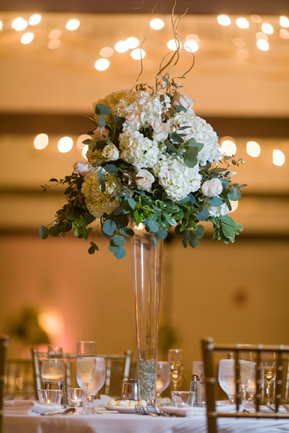 Stunning, tall centerpieces were created for the occasion.