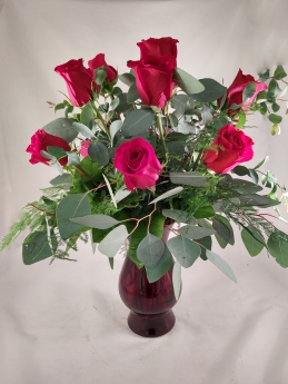 red rose arrangment